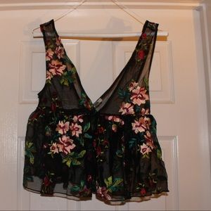 See-through floral tank- urban outfitters